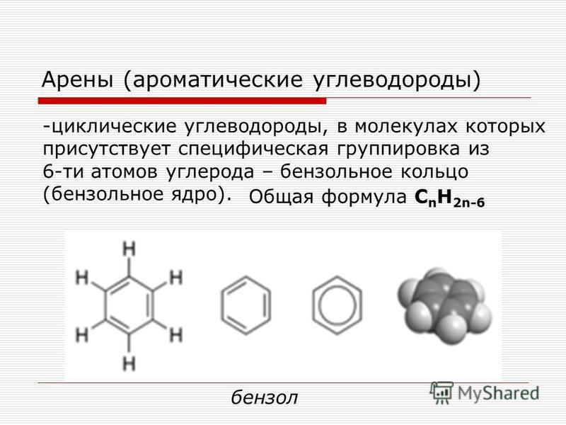 Арены (ароматические углеводороды) -циклические углеводороды, в молекулах которых присутствует специфическая группировка из 6-ти атомов углерода – бензольное кольцо (бензольное ядро). Общая формула С n H 2n-6 бензол