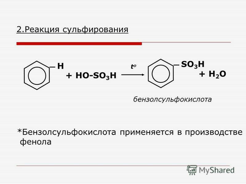 2. Реакция сульфирования Н + HO-SO 3 H SO 3 H + H 2 O бензолсульфокислота toto *Бензолсульфокислота применяется в производстве фенола