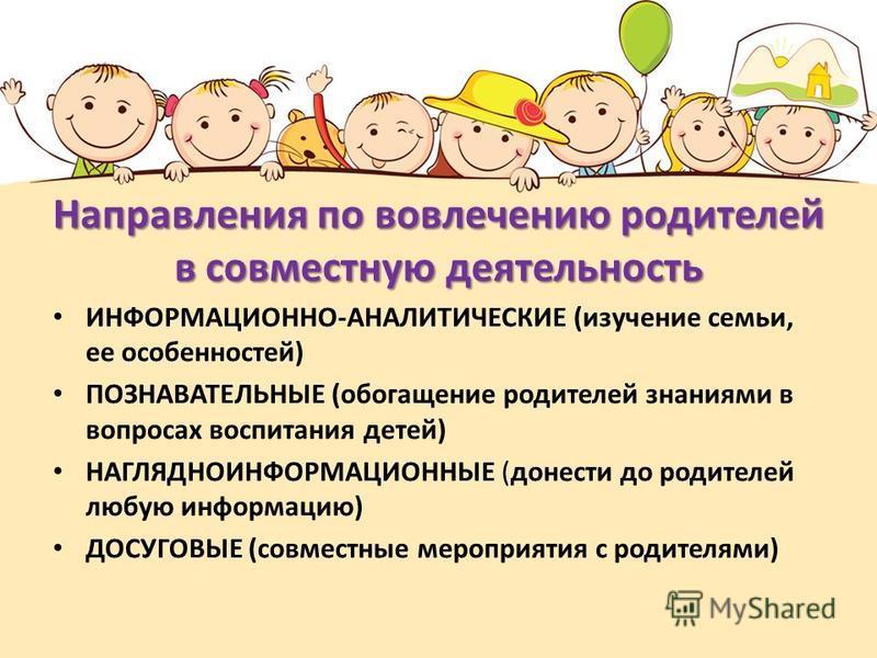 Направления по вовлечению родителей в совместную деятельность ИНФОРМАЦИОННО-АНАЛИТИЧЕСКИЕ (изучение семьи, ее особенностей) ПОЗНАВАТЕЛЬНЫЕ (обогащение родителей знаниями в вопросах воспитания детей) НАГЛЯДНОИНФОРМАЦИОННЫЕ (донести до родителей любую