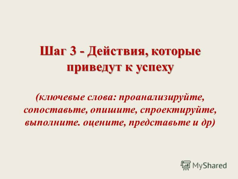 Шаг 3 - Действия, которые приведут к успеху Шаг 3 - Действия, которые приведут к успеху (ключевые слова: проанализируйте, сопоставьте, опишите, спроектируйте, выполните. оцените, представьте и др)