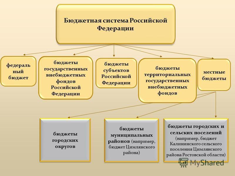 Бюджетная система Российской Федерации федеральный бюджет бюджеты государственных внебюджетных фондов Российской Федерации бюджеты субъектов Российской Федерации местные бюджеты бюджеты муниципальных районов (например, бюджет Цимлянского района) бюдж
