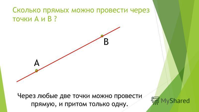 Сколько прямых можно провести через точки А и В ? А В Через любые две точки можно провести прямую, и притом только одну.