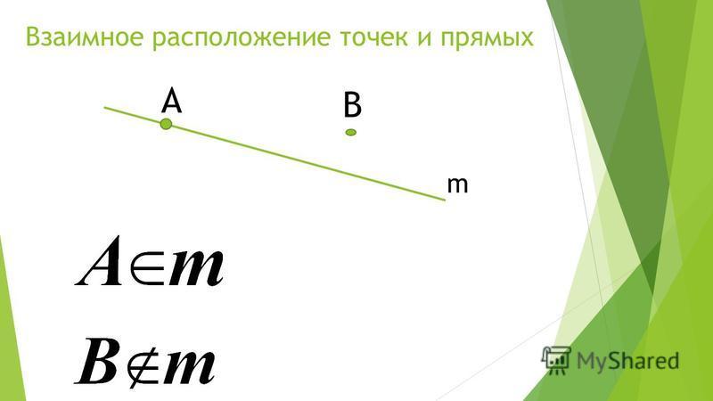 Взаимное расположение точек и прямых m В A
