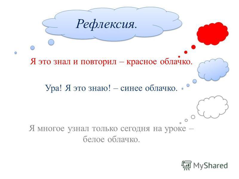 Я это знал и повторил – красное облачко. Ура! Я это знаю! – синее облачко. Я многое узнал только сегодня на уроке – белое облачко. Рефлексия.