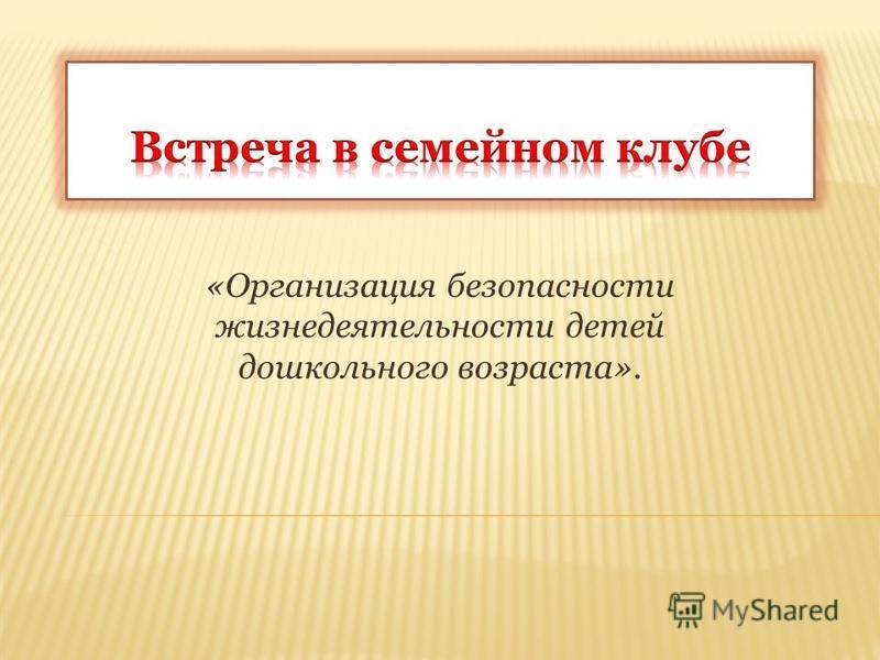 «Организация безопасности жизнедеятельности детей дошкольного возраста».