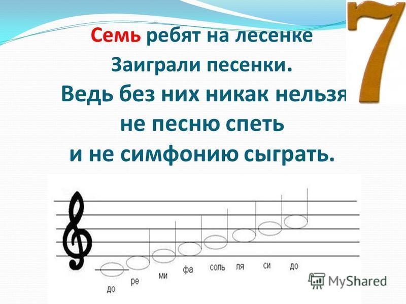 Семь ребят на лесенке Заиграли песенки. Ведь без них никак нельзя не песню спеть и не симфонию сыграть.