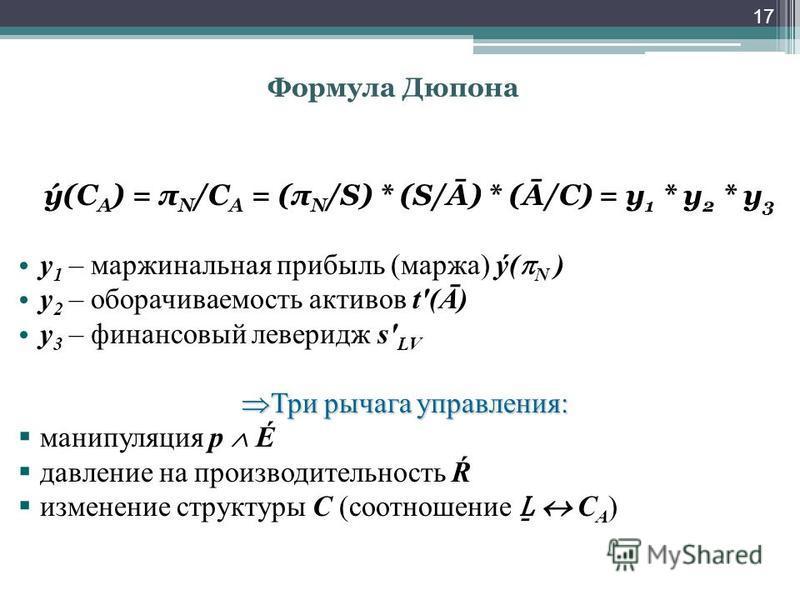 Формула Дюпона 17 ý(С А ) = π N /C A = (π N /S) * (S/Ā) * (Ā/C) = y 1 * y 2 * y 3 y 1 – маржинальная прибыль (маржа) ý( N ) у 2 – оборачиваемость активов t'(Ā) у 3 – финансовый левередж s' LV Три рычага управления: Три рычага управления: манипуляция