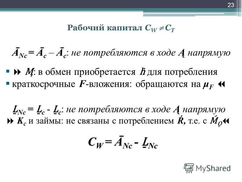 Рабочий капитал С W C T Ā Nс = Ā с – Ā с Ā Nс = Ā с – Ā с : не потребляются в ходе Ą напрямую : в обмен приобретается для потребления краткосрочные F-вложения: обращаются на μ F Nс = с - CD с = с - с : не потребляются в ходе Ą напрямую K с и займы: н
