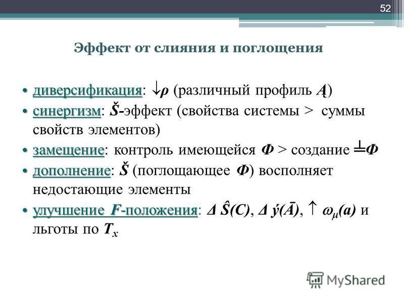 Эффект от слияния и поглощения диверсификация диверсификация: ρ (различный профиль Ą) синергизм синергизм: Š-эффект (свойства системы > суммы свойств элементов) замещение замещение: контроль имеющейся Ф > создание Ф дополнение дополнение: Š (поглощаю