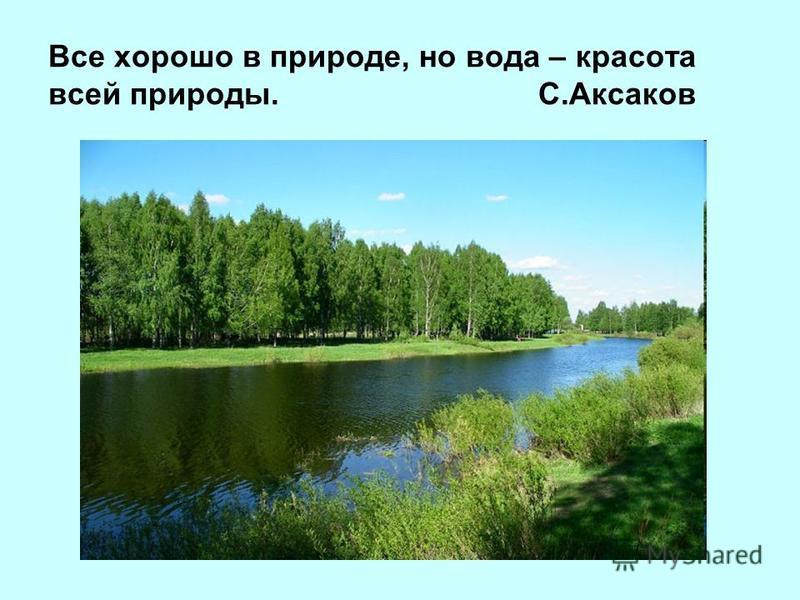 Все хорошо в природе, но вода – красота всей природы. С.Аксаков