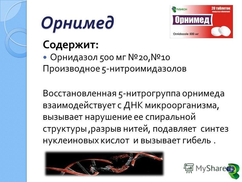Орнимед Содержит : Орнидазол 500 мг 20, 10 Производное 5- нитроимидазолов Восстановленная 5- нитрогруппа орнимеда взаимодействует с ДНК микроорганизма, вызывает нарушение ее спиральной структуры, разрыв нитей, подавляет синтез нуклеиновых кислот и вы