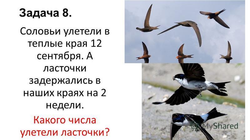 Задача 8. Соловьи улетели в теплые края 12 сентября. А ласточки задержались в наших краях на 2 недели. Какого числа улетели ласточки?