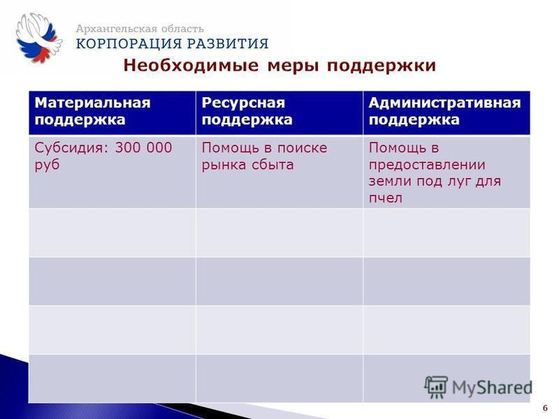 Материальная поддержка Ресурсная поддержка Административная поддержка Субсидия: 300 000 руб Помощь в поиске рынка сбыта Помощь в предоставлении земли под луг для пчел