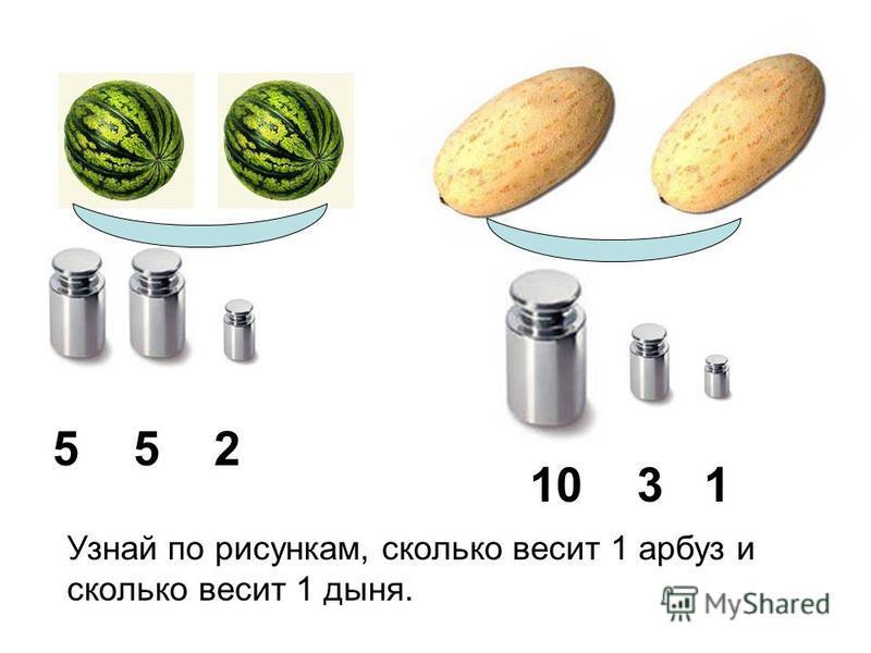 5 5 2 10 3 1 Узнай по рисункам, сколько весит 1 арбуз и сколько весит 1 дыня.
