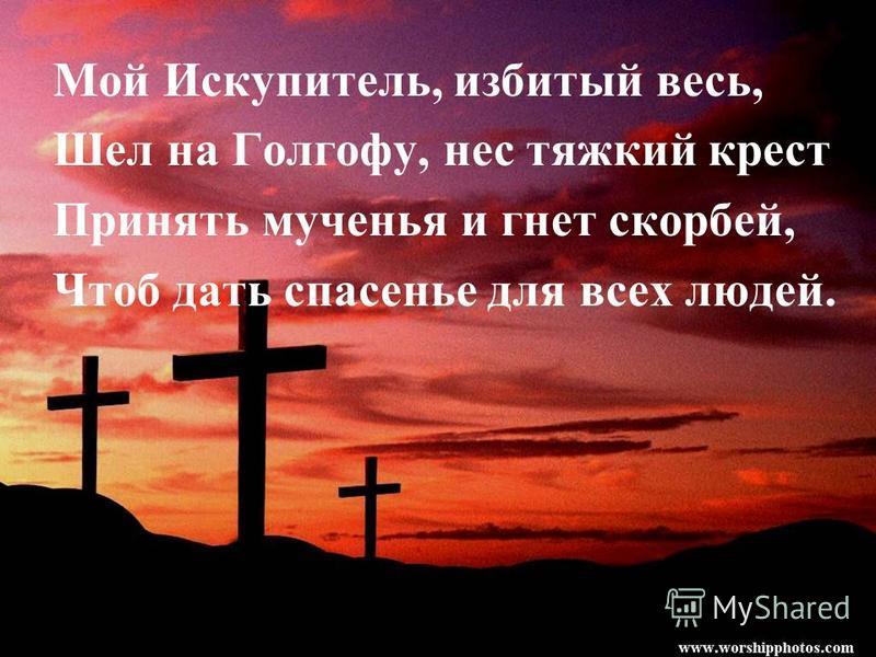Мой Искупитель, избитый весь, Шел на Голгофу, нес тяжкий крест Принять мученья и гнет скорбей, Чтоб дать спасенье для всех людей.