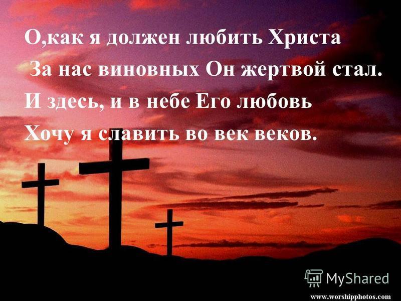 О,как я должен любить Христа За нас виновных Он жертвой стал. И здесь, и в небе Его любовь Хочу я славить во век веков.
