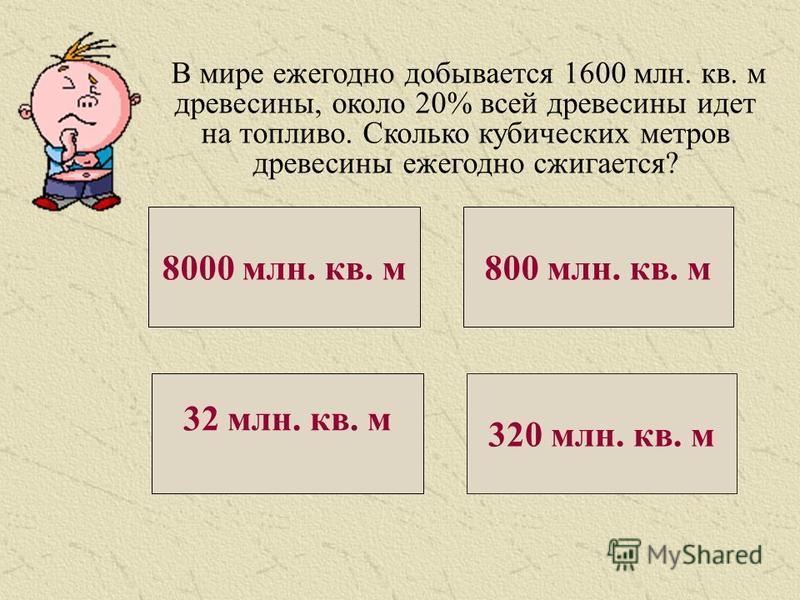 В мире ежегодно добывается 1600 млн. кв. м древесины, около 20% всей древесины идет на топливо. Сколько кубических метров древесины ежегодно сжигается? 8000 млн. кв. м 800 млн. кв. м 32 млн. кв. м 320 млн. кв. м