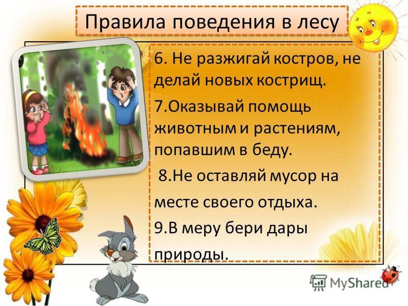 Правила поведения в лесу 6. Не разжигай костров, не делай новых кострищ. 7. Оказывай помощь животным и растениям, попавшим в беду. 8. Не оставляй мусор на месте своего отдыха. 9. В меру бери дары природы.
