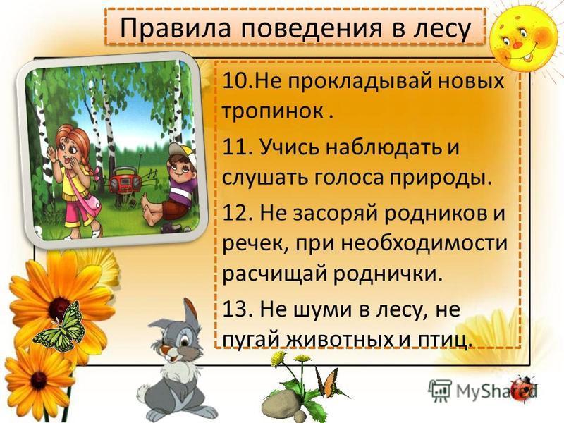 Правила поведения в лесу 10. Не прокладывай новых тропинок. 11. Учись наблюдать и слушать голоса природы. 12. Не засоряй родников и речек, при необходимости расчищай роднички. 13. Не шуми в лесу, не пугай животных и птиц.