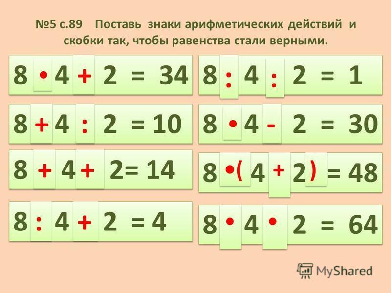 5 с.89 Поставь знаки арифметических действий и скобки так, чтобы равенства стали верными. 8 4 2 = 34 + + 8 4 2 = 10 8 4 2= 14 : : + + + + 8 4 2 = 4 : : + + + + 8 4 2 = 1 8 4 2 = 30 8 4 2 = 48 8 4 2 = 64 : : : : - - ( ( + + ) )