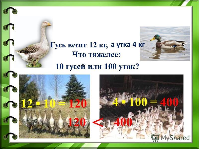 Что тяжелее: 10 гусей или 100 уток? Гусь весит 12 кг, а утка 4 кг 12 10 = 120 4 100 = 400 120400 <