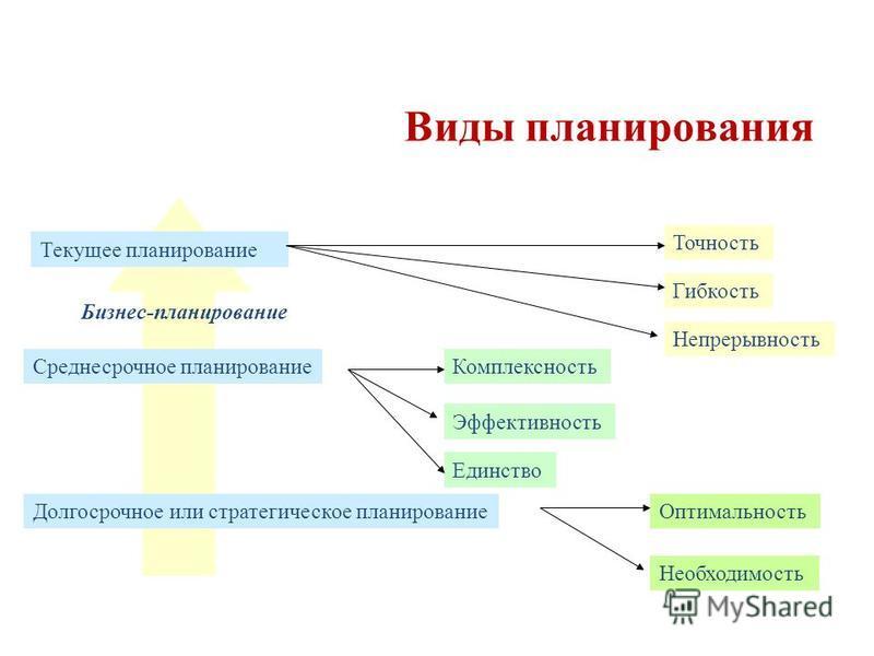 Текущее планирование Среднесрочное планирование Долгосрочное или стратегическое планирование Точность Гибкость Непрерывность Комплексность Эффективность Единство Оптимальность Необходимость Бизнес-планирование Виды планирования