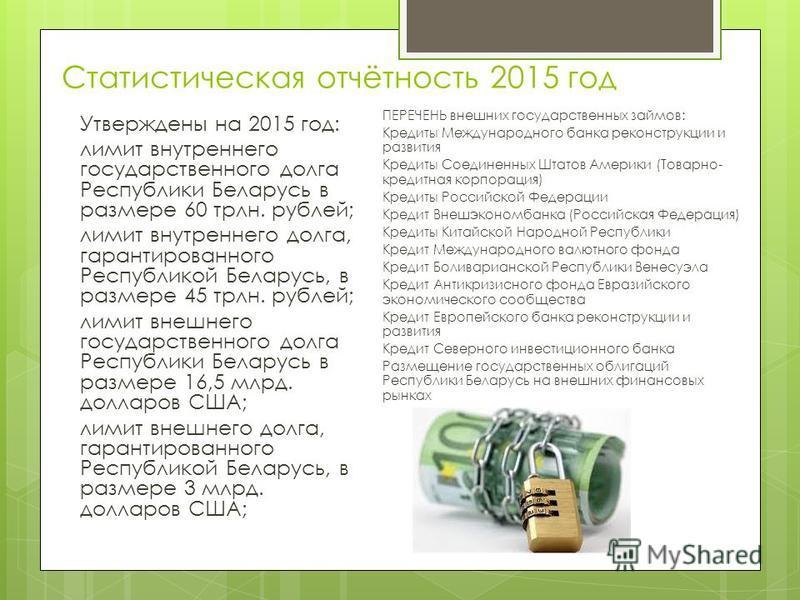 Статистическая отчётность 2015 год Утверждены на 2015 год: лимит внутреннего государственного долга Республики Беларусь в размере 60 трлн. рублей; лимит внутреннего долга, гарантированного Республикой Беларусь, в размере 45 трлн. рублей; лимит внешне