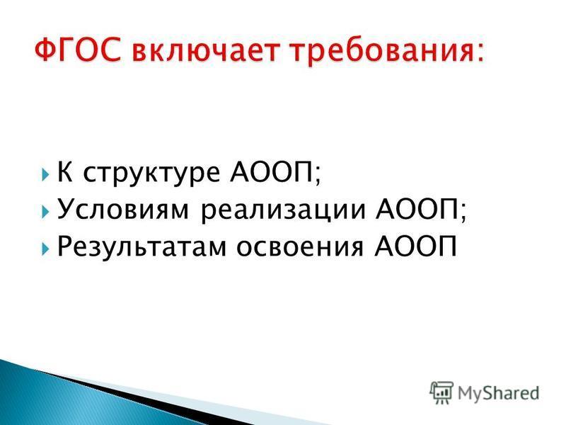К структуре АООП; Условиям реализации АООП; Результатам освоения АООП