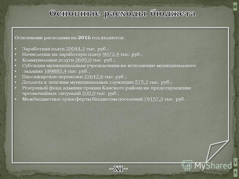 Основными расходами на 2015 2015 год являются: Заработная Заработная плата 30044,3 30044,3 тыс. руб.; Начисления Начисления на заработную плату 9073,4 9073,4 тыс. руб.; Коммунальные Коммунальные услуги 2695,0 2695,0 тыс. руб.; Субсидии Субсидии муниц
