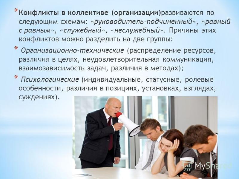 * Конфликты в коллективе (организации)развиваются по следующим схемам: «руководитель-подчиненный», «равный с равным», «служебный», «неслужебный». Причины этих конфликтов можно разделить на две группы: * Организационно-технические (распределение ресур