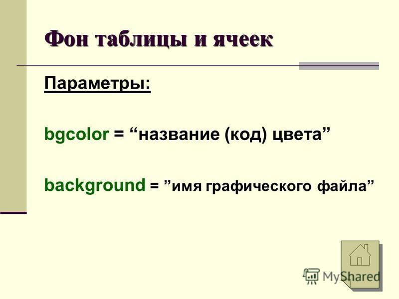 Фон таблицы и ячеек Параметры: bgcolor = название (код) цвета background = имя графического файла