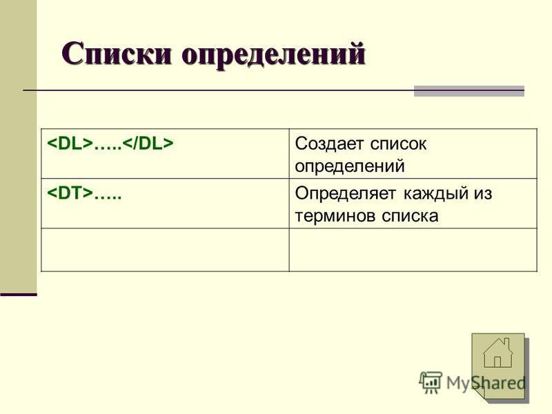 Списки определений ….. Создает список определений …..Определяет каждый из терминов списка