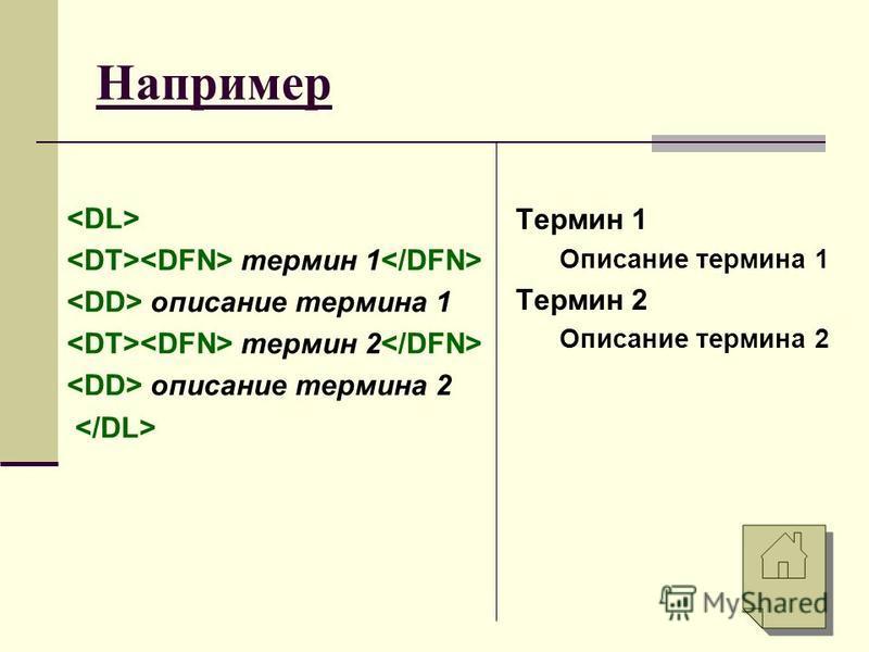 Например термин 1 описание термина 1 термин 2 описание термина 2 Термин 1 Описание термина 1 Термин 2 Описание термина 2