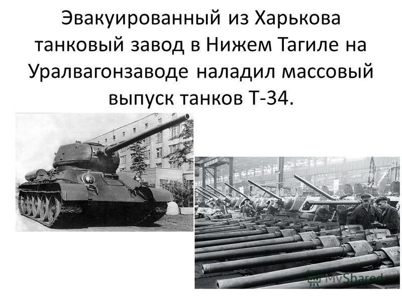 Эвакуированный из Харькова танковый завод в Нижем Тагиле на Уралвагонзаводе наладил массовый выпуск танков Т-34.
