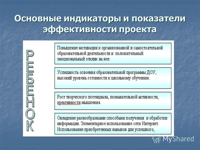 Основные индикаторы и показатели эффективности проекта