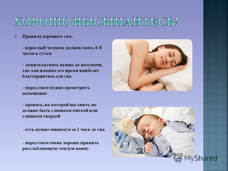 Правила хорошего сна: - взрослый человек должен спать 6-8 часов в сутки - ложиться спать нужно до полуночи, так как именно это время наиболее благоприятное для сна - перед сном нужно проветрить помещение - кровать, на которой вы спите, не должна быть