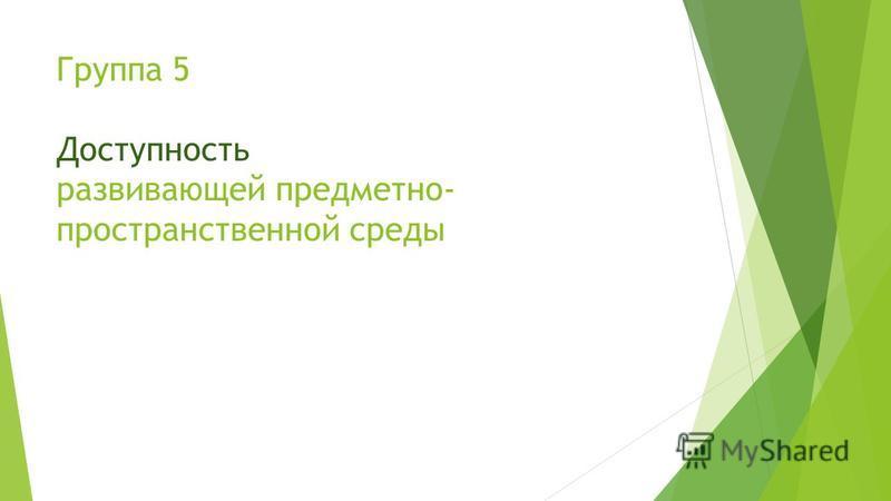 Группа 5 Доступность развивающей предметно- пространственной среды