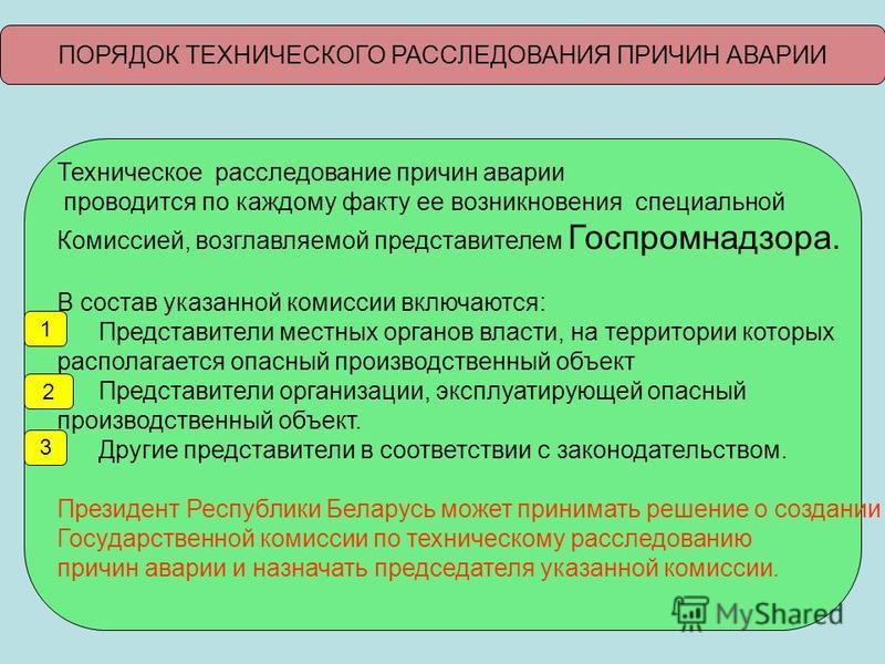 ПОРЯДОК ТЕХНИЧЕСКОГО РАССЛЕДОВАНИЯ ПРИЧИН АВАРИИ Техническое расследование причин аварии проводится по каждому факту ее возникновения специальной Комиссией, возглавляемой представителем Госпромнадзора. В состав указанной комиссии включаются: Представ