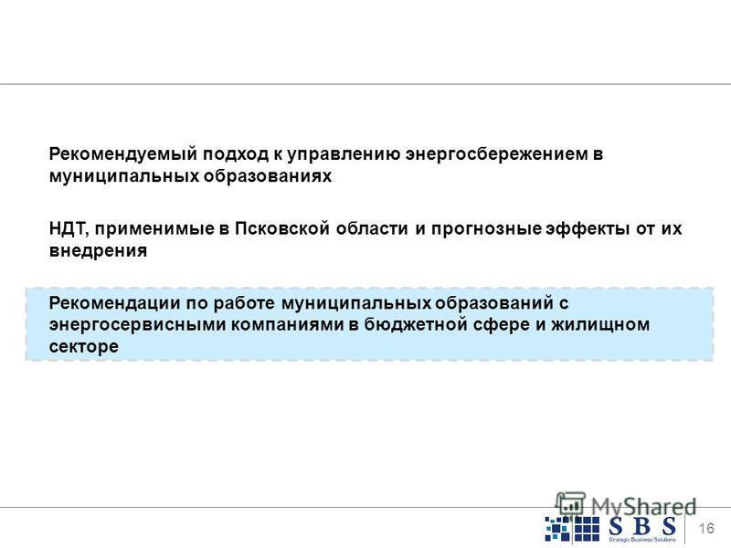 16 Рекомендуемый подход к управлению энергосбережением в муниципальных образованиях НДТ, применимые в Псковской области и прогнозные эффекты от их внедрения Рекомендации по работе муниципальных образований с энергосервисными компаниями в бюджетной сф