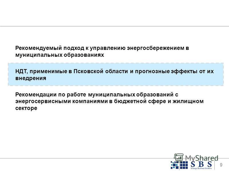 9 Рекомендуемый подход к управлению энергосбережением в муниципальных образованиях НДТ, применимые в Псковской области и прогнозные эффекты от их внедрения Рекомендации по работе муниципальных образований с энергосервисными компаниями в бюджетной сфе