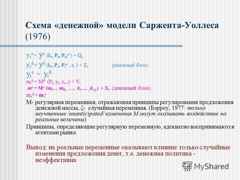 Схема «денежной» модели Саржента-Уоллеса (1976) y t s = y s (k t, P t, P t1 e ) + Q t y t d = y d (k t, P t, P t e, r t ) + Z t (реальный блок) y t s = y t d m t d = M d (P t, y t, r t, t ) + V t m s = M s (m t … m ti,. …. k t ….. k t-j ) + X t. (ден
