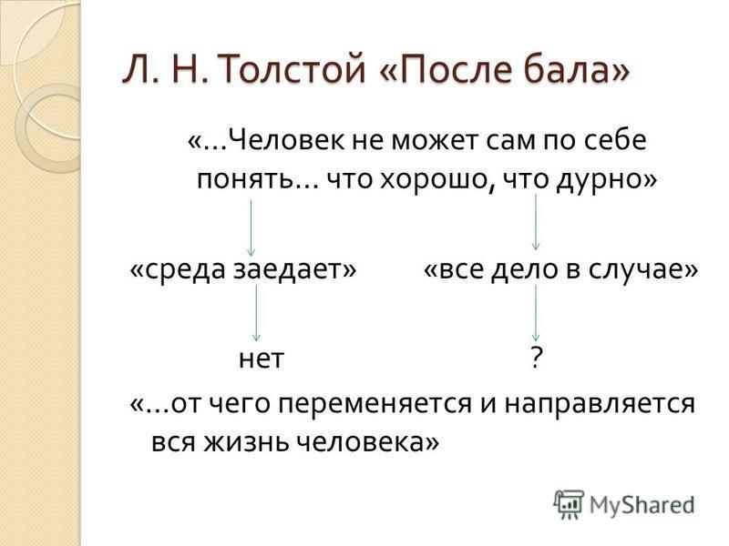 Л. Н. Толстой « После бала » «… Человек не может сам по себе понять … что хорошо, что дурно » « среда заедает » « все дело в случае » нет ? «… от чего переменяется и направляется вся жизнь человека »
