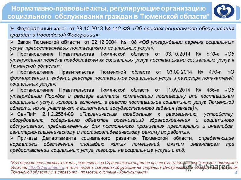 *Все нормативно-правовые акты размещены на Официальном портале органов государственной власти Тюменской области http://admtyumen.ru, в том числе в специальной рубрике на странице Департамента социального развития Тюменской области и в справочно - пра