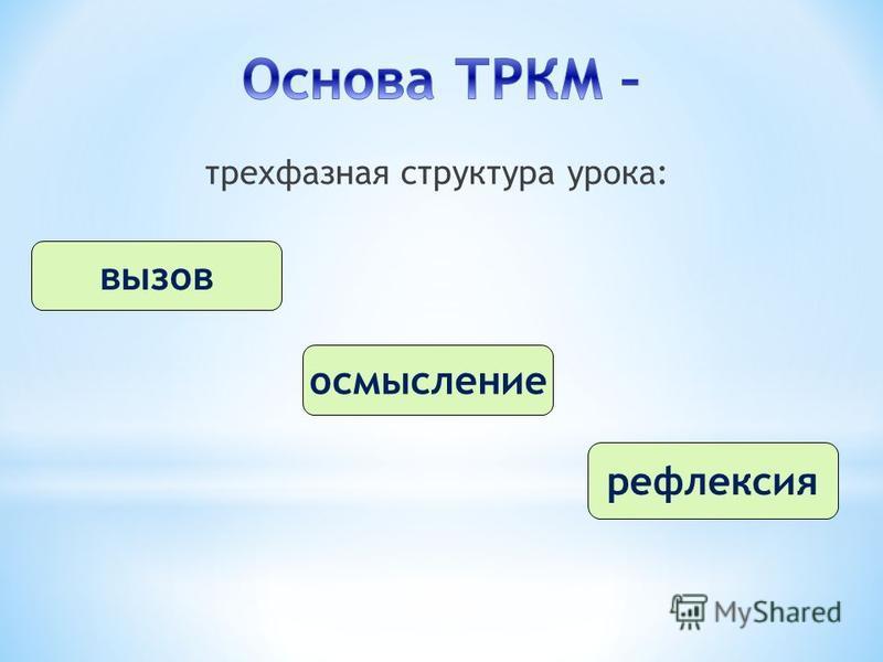трехфазная структура урока: вызов осмысление рефлексия