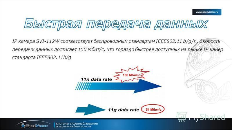 IP камера SVI-112W соответствует беспроводным стандартам IEEE802.11 b/g/n. Скорость передачи данных достигает 150 Мбит/с, что гораздо быстрее доступных на рынке IP камер стандарта IEEE802.11b/g