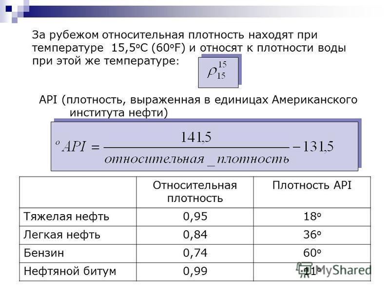 За рубежом относительная плотность находят при температуре 15,5 о С (60 о F) и относят к плотности воды при этой же температуре : API (плотность, выраженная в единицах Американского института нефти) Относительная плотность Плотность API Тяжелая нефть