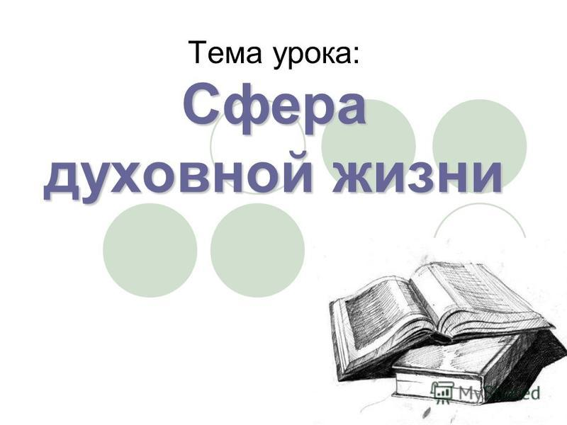 Сфера духовной жизни Тема урока:
