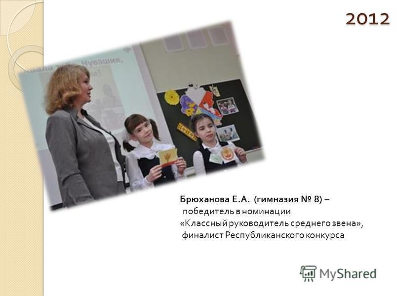 2012 Брюханова Е.А. (гимназия 8) – победитель в номинации «Классный руководитель среднего звена», финалист Республиканского конкурса