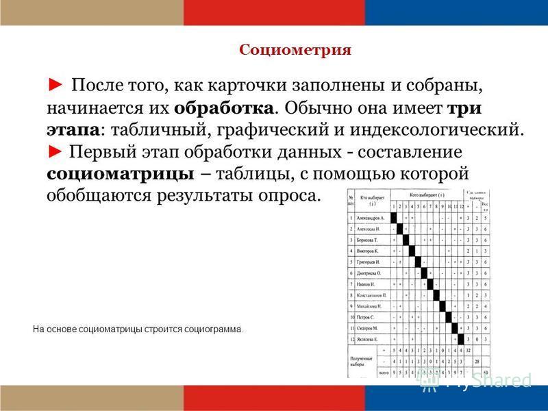 Социометрия После того, как карточки заполнены и собраны, начинается их обработка. Обычно она имеет три этапа: табличный, графический и индексологический. Первый этап обработки данных - составление социоматрицы – таблицы, с помощью которой обобщаются