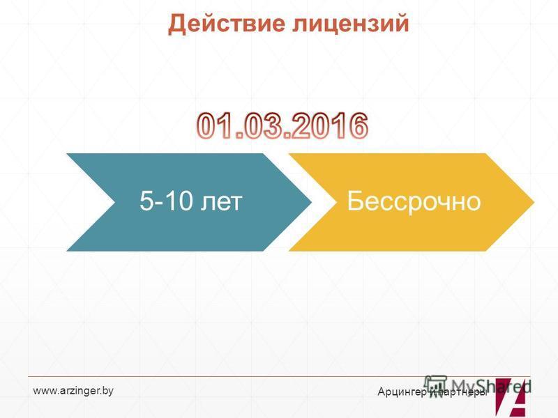 www.arzinger.by Действие лицензий 5-10 лет Бессрочно Арцингер и партнеры